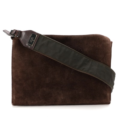 Gucci Brown Suede Front Flap Crossbody