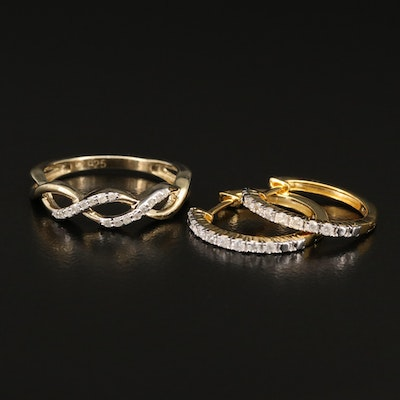 Sterling Silver Diamond Wave Ring and Huggie Earrings