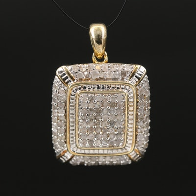 Diamond Cluster Square Pendant