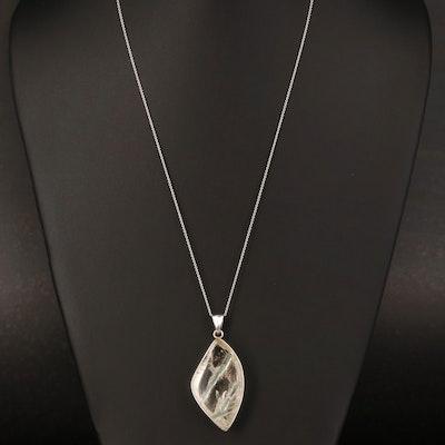 Sterling Sagenitic Quartz Pendant Necklace