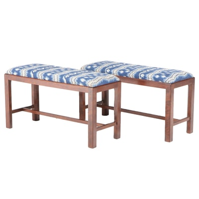 Pair of Chippendale Style Upholstered Cherrywood Benches, 20th Century