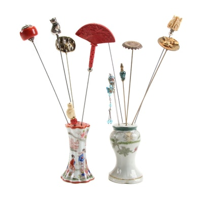 Hat Pins and Porcelain Holders