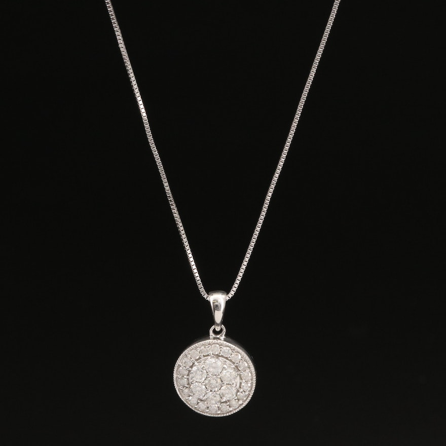 Sterling Silver Diamond Cluster Pendant Necklace