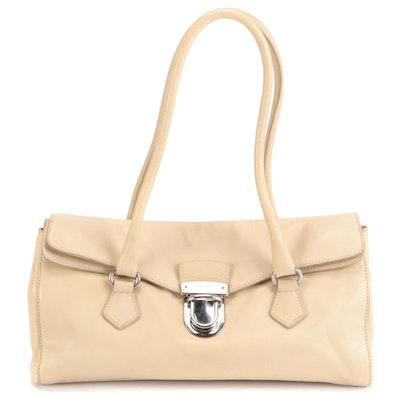 Prada Foldover Front Flap Shoulder Bag in Beige Leather