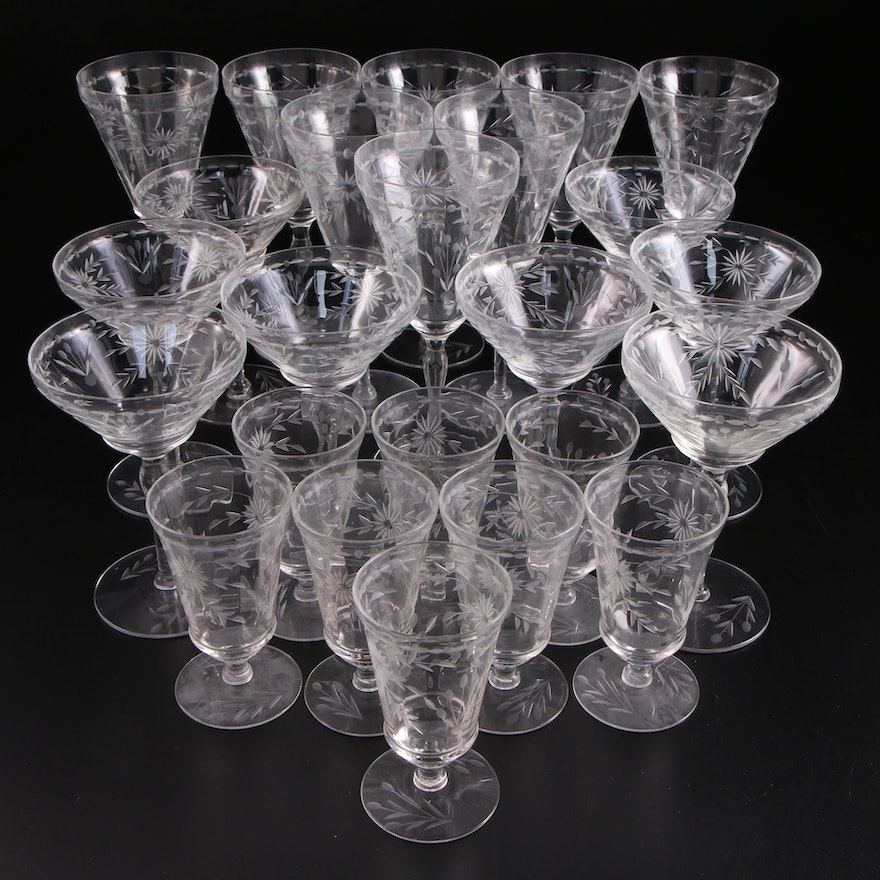 Floral Etched Glass Stemware, Mid-20th Century