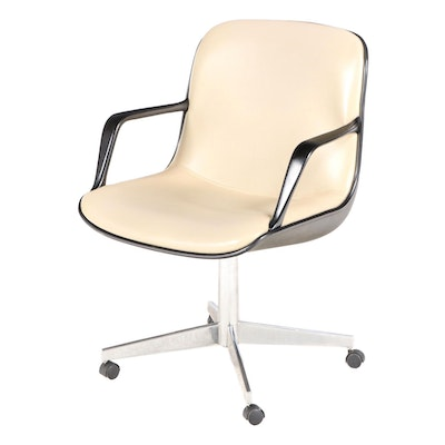 Steelcase Molded Plastic, Chromed Steel, and Vinyl Office Chair, dated 1974