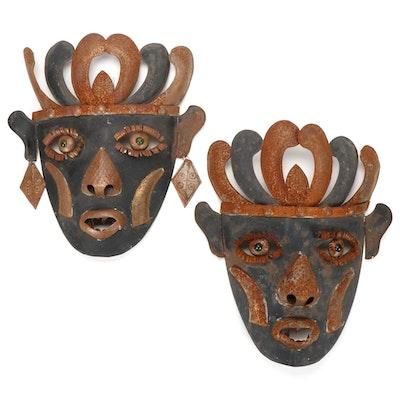 Metal Face Wall Hanging Sculptures