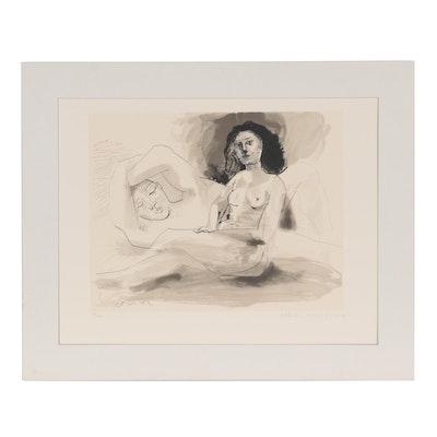 """Lithograph after Pablo Picasso """"Homme couché et femme assise,"""" 1982"""