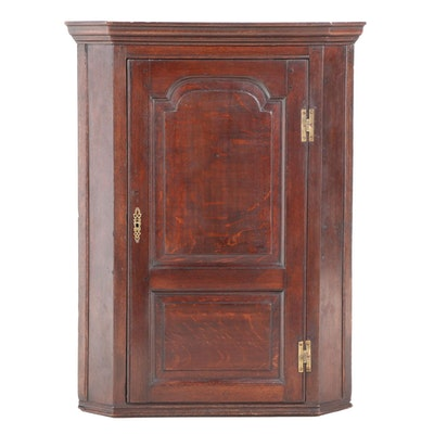 George III Oak Hanging Corner Cupboard, Late 18th/Early 19th Century