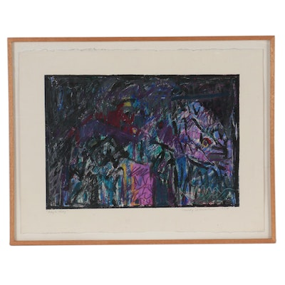 """Mindy Weisel Abstract Pastel Drawing """"May to May,"""" 1984"""