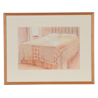 Judy D. Treman Watercolor Painting of Bedroom Interior, Late 20th Century