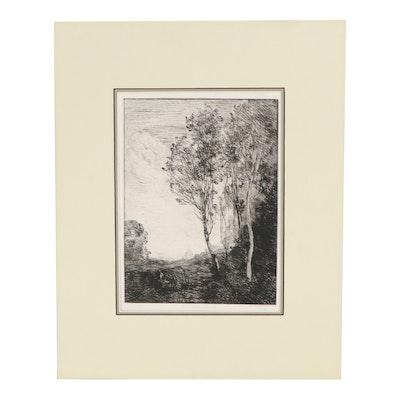 "Camille Corot Etching ""Souvenir D'Italie"""