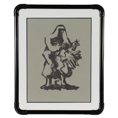 """Jacques Lipchitz Lithograph """"Prometheus and the Vulture,"""" Mid-20th Century"""