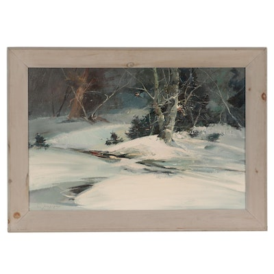 """Charles C. Gruppe Landscape Oil Painting """"Eastern Slope,"""" Late 20th Century"""