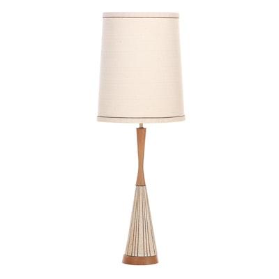 Mid Century Modern Walnut and Ceramic Table Lamp
