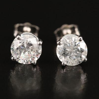 18K 2.03 CTW Diamond Stud Earrings with GIA Report