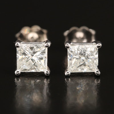 18K 2.01 CTW Diamond Stud Earrings with GIA Report and GIA Dossier