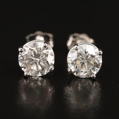 18K 1.98 CTW Diamond Stud Earrings with GIA Report