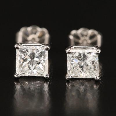 Platinum 1.93 CTW Diamond Stud Earrings with GIA eReports