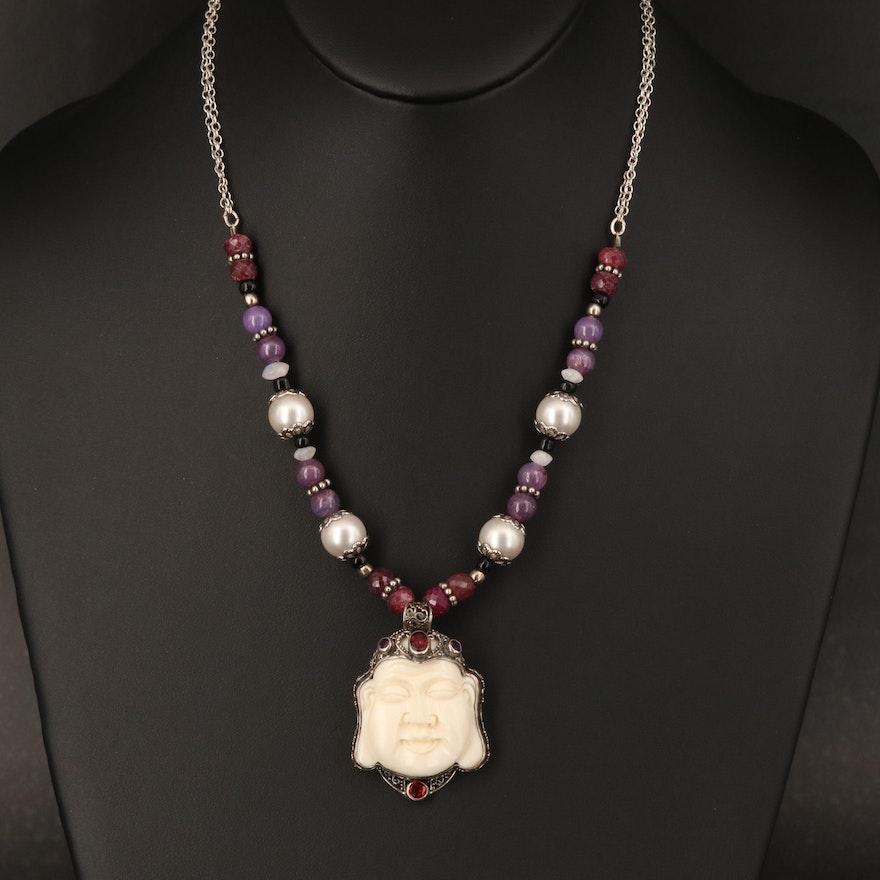 Sterling Buddha Necklace Including Bone, Corundum and Amethyst