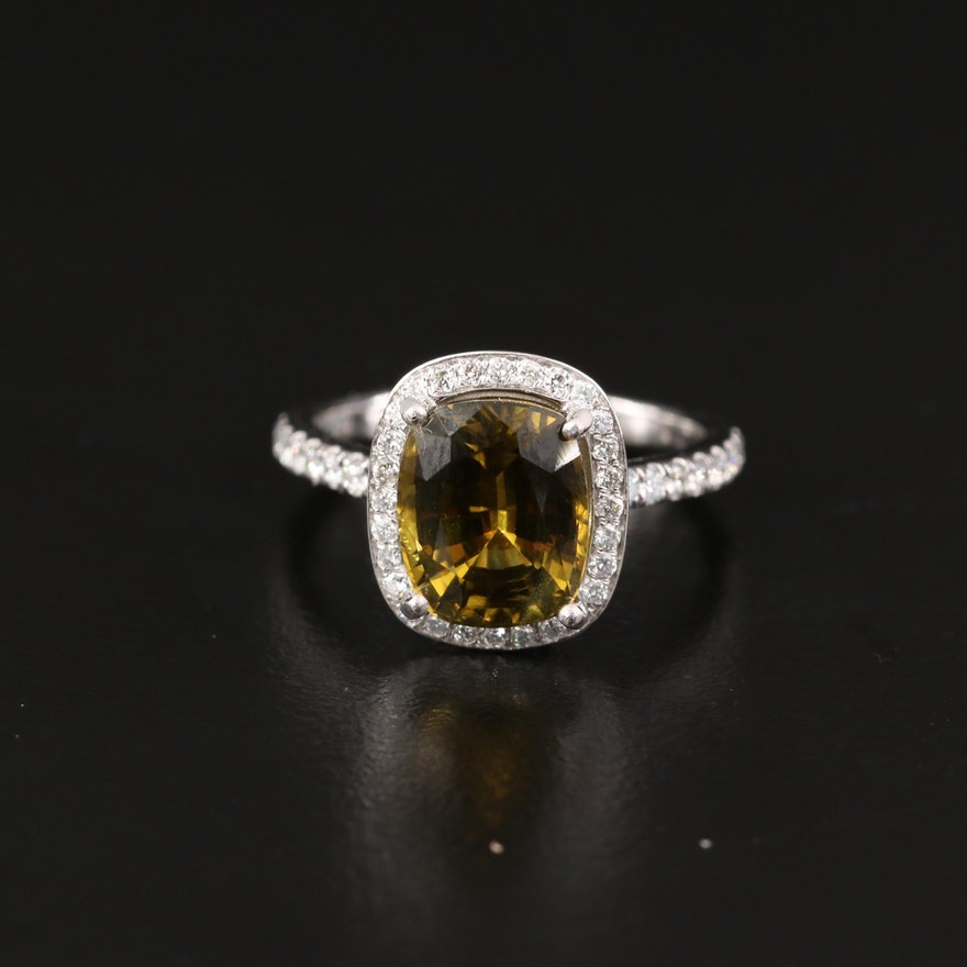 Platinum 4.24 CT Alexandrite and 1.02 CTW Diamond Halo Ring with GIA Report