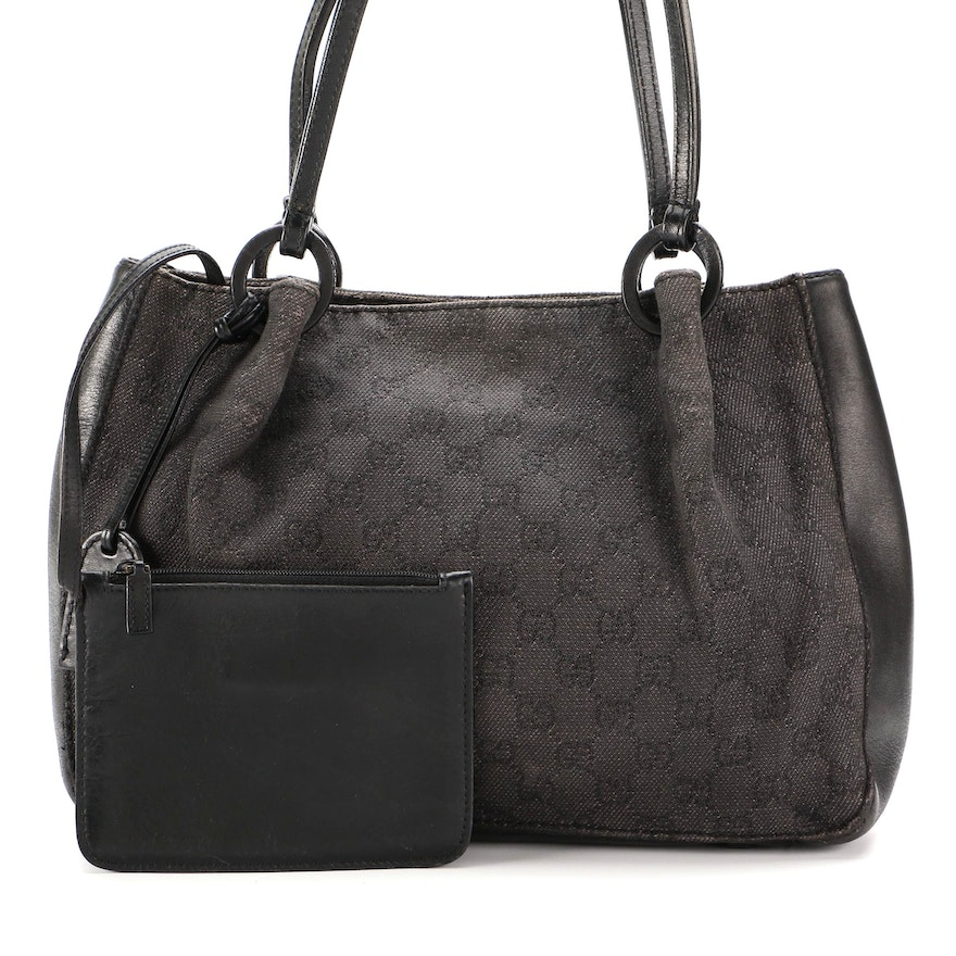 Gucci Shoulder Bag in Black GG Canvas with Leather Trim and Pochette