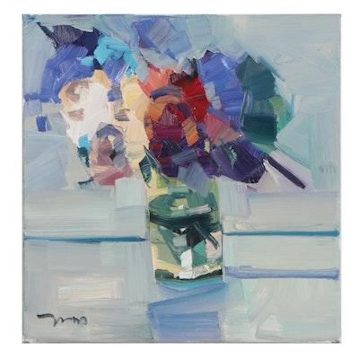 "Jose Trujillo Still Life Oil Painting ""Hydrangeas,"" 2021"