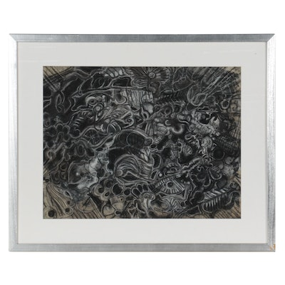 Mae Alice Engron Organic Form Abstract Charcoal and Pastel Drawing