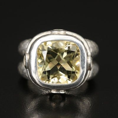 SeidenGang Sterling Citrine and Cubic Zirconia Ring
