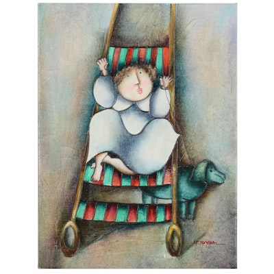 J. Roybal Oil Painting of Child in Stroller and Dog