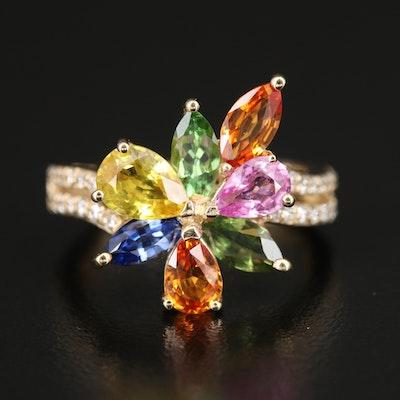 EFFY 14K YELLOW GOLD DIAMOND, NATURAL CEYLON SAPPHIRE, GREEN SAPPHIRE, ORANGE SAPPHIRE, PINK SAPPHIRE, TSAVORITE, YELLOW SAPPHIRE RING