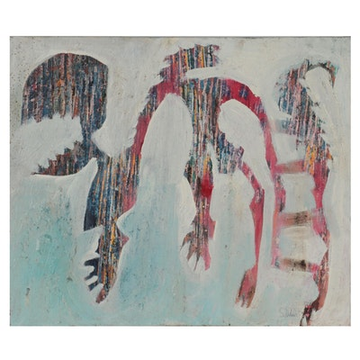 Janice Schuler Abstract Mixed Media Painting, 21st Century