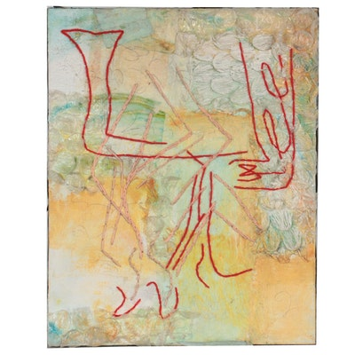 Rachel Hallas Abstract Mixed Media Painting, 2007