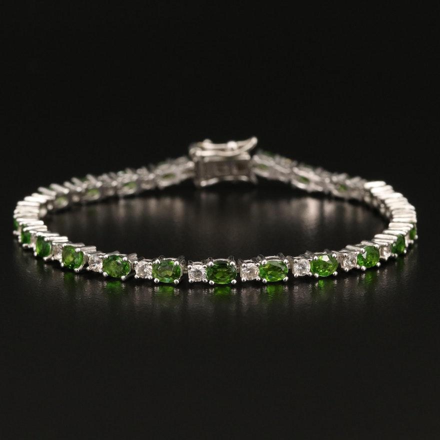 Sterling Diopside and Zircon Line Bracelet