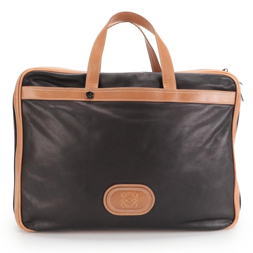 Loewe Weekender Travel Bag in Smooth Black and Textured Brown Leather