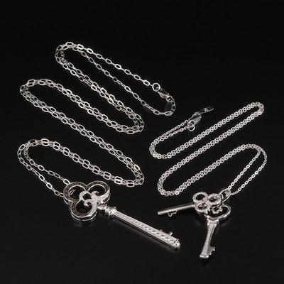 Sterling Silver Diamond Key Pendant Necklaces