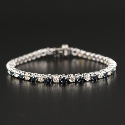 EFFY 14K WHITE GOLD DIAMOND, NATURAL SAPPHIRE BRACELET