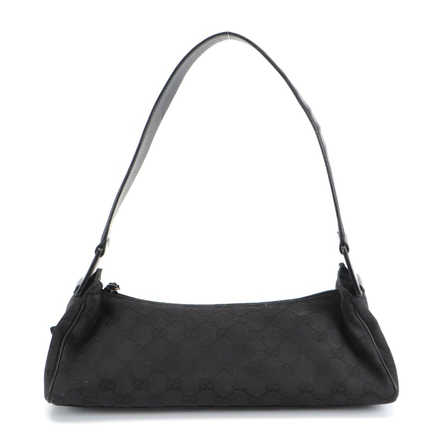 Gucci Small Shoulder Bag in Black GG Canvas and Leather Trim