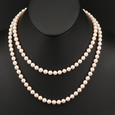 Pearl Matinee Length Necklace with 14K Clasp