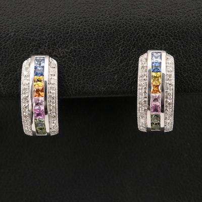 14K Multicolored Sapphire and Diamond J- Hoop Earrings