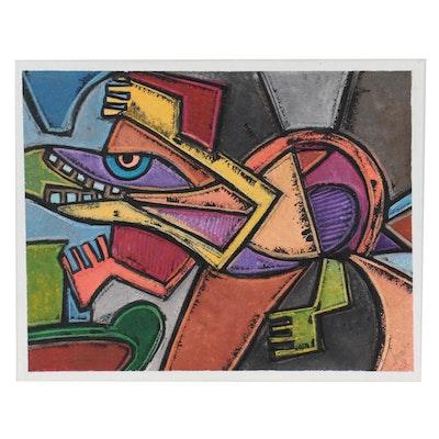 """Lanre Ayuba Embellished Acrylic Painting """"Magical Alligator,"""" 2021"""