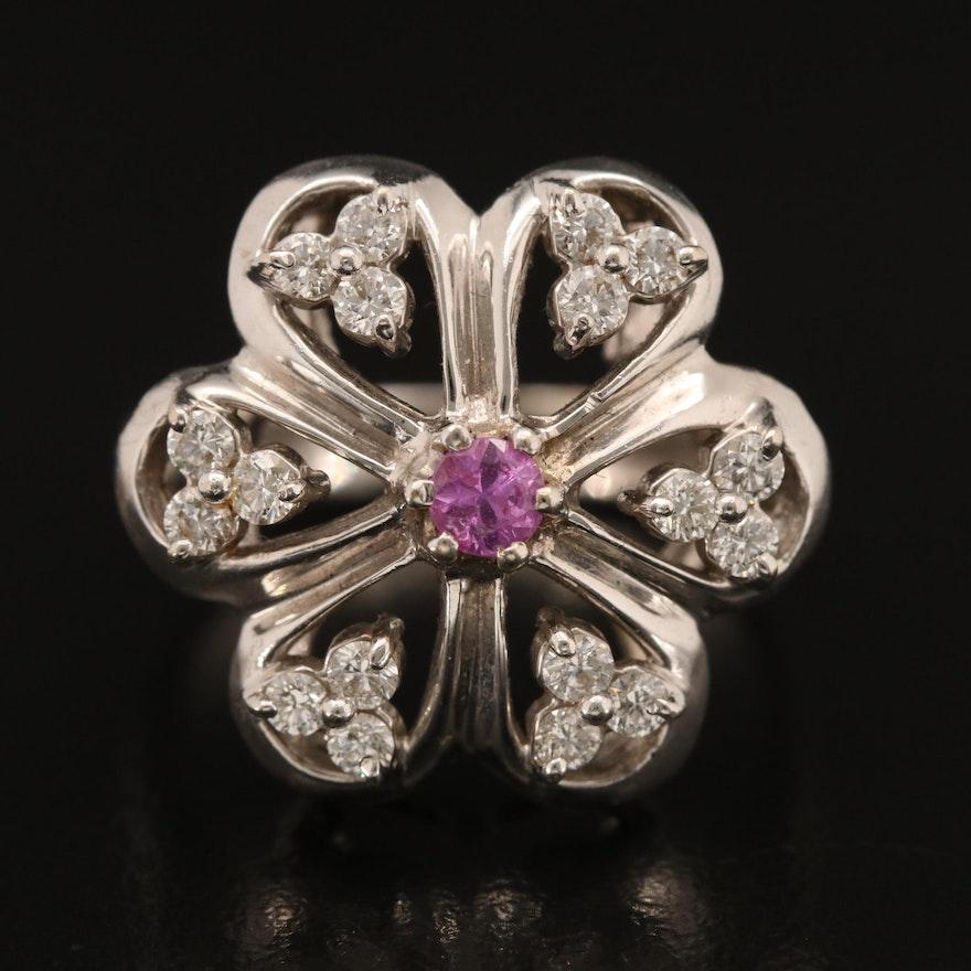14K Sapphire and Diamond Flower Ring