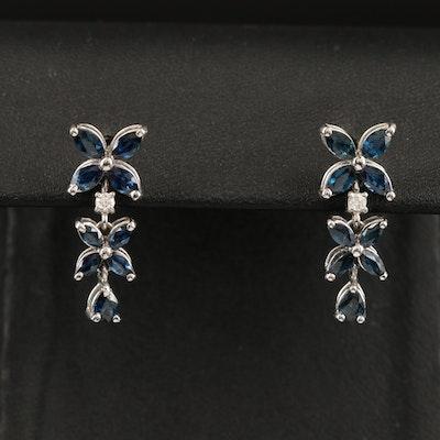 EFFY 14K WHITE GOLD DIAMOND, NATURAL SAPPHIRE EARRINGS