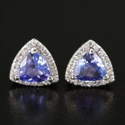 EFFY 14K WHITE GOLD DIAMOND, TANZANITE EARRINGS