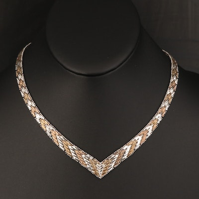 Italian Sterling Patterned Chevron Necklace