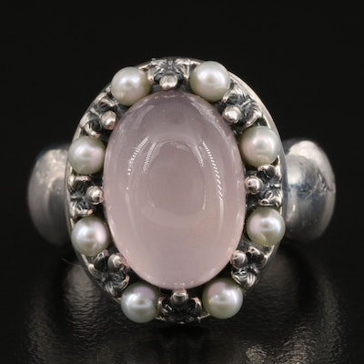Ann King Sterling Silver Rose Quartz and Pearl Ring