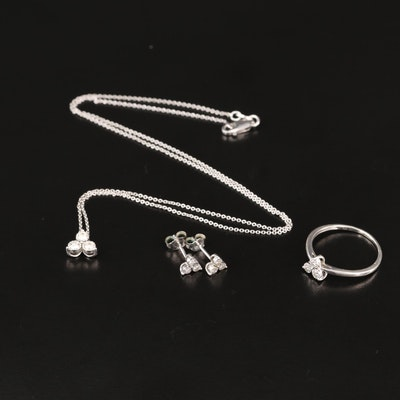 Sterling Silver Diamond Ring, Necklace and Earring Set