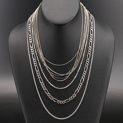 Sterling Chain Necklaces Including Figaro, Box and Curb
