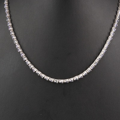 Sterling Silver Tanzanite Riviére Necklace