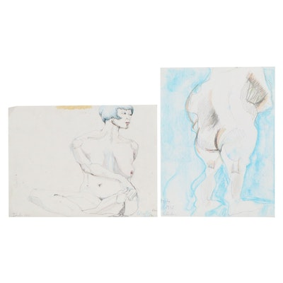 Janice Schuler Figural Nude Mixed Media Drawings